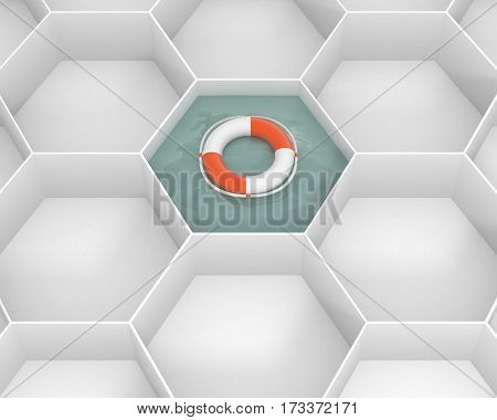 White hexagon cells with Life Saver buoy at the pool water. Life ring floating at the sea water.  3d image.