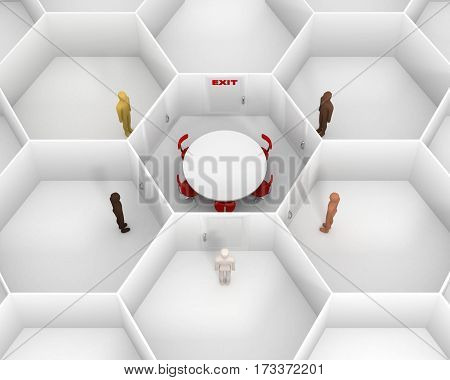 Five people with different skin colors standing in front of doors, around hexagonal closed white room with round table, chairs and closed door with red exit text sign to discuss. 3D Illustration