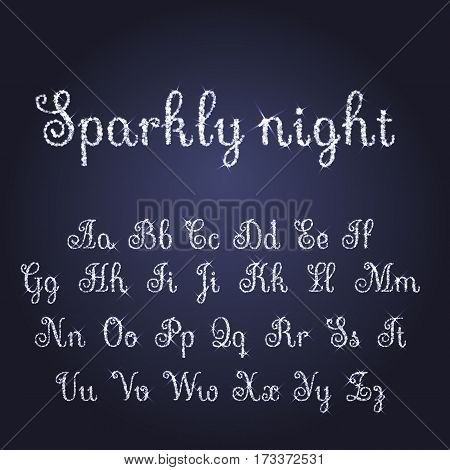 Vector Shining Luxury Beautiful Calligraphic Silver And Snow Alphabet Font Set Of Glittering Sparkle