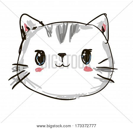 cute cat sketch vector illustration, print design cat, children print on t-shirt. Hand Drawn Vector Illustration of cat.
