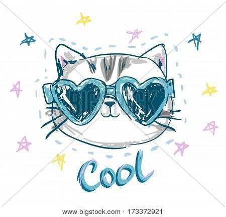 cool print children's T-shirt with cat, vector illustration, hand drawn cat