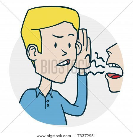 Man tries to hear the stories. Problems with hearing and deafness. Illustration of a funny cartoon style
