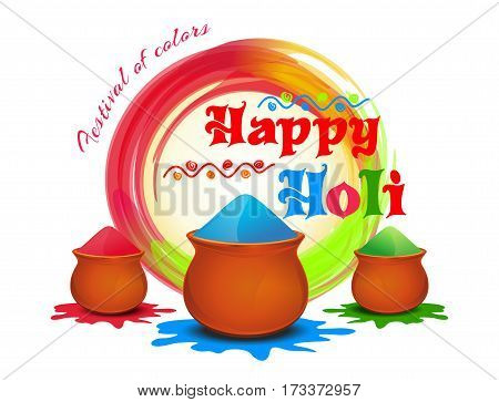 Happy Holi. Festival of colors. Vector illustration with powder color colorful gulal. Holi colour powder. Happy Holi background
