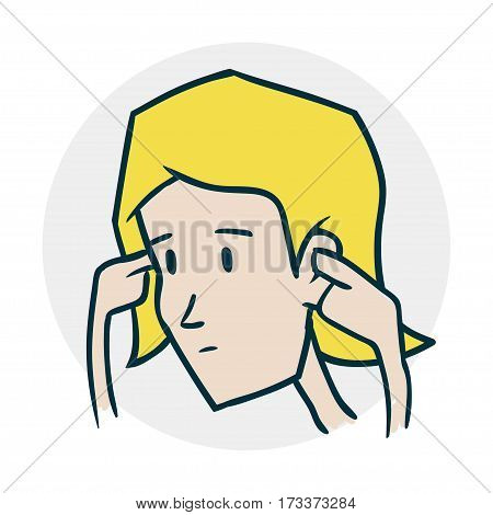 She covered her ears. Problems with hearing and deafness. Illustration of a funny cartoon style