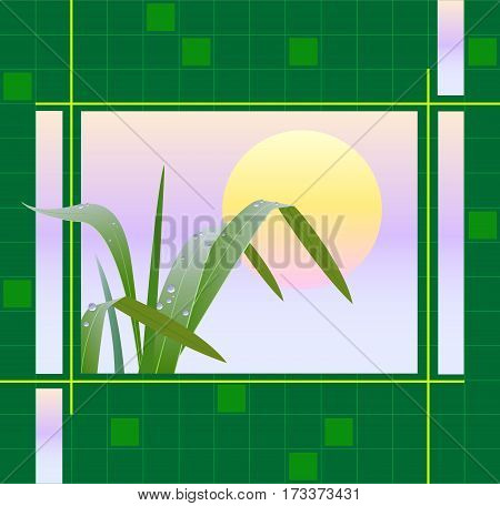 Geometrical background with the image of the grass at sunrise. Vector illustration