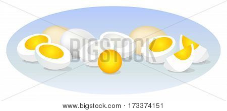 A set of images of eggs lying on the surface. Vector illustration