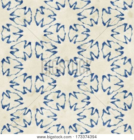 Native batik watercolor artistic blue and white pattern. Ethnic boho style. Seamless hand drawn tribal square texture.