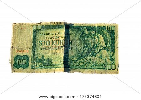 100 koruna bill of Czechoslovakia isolated on the white background