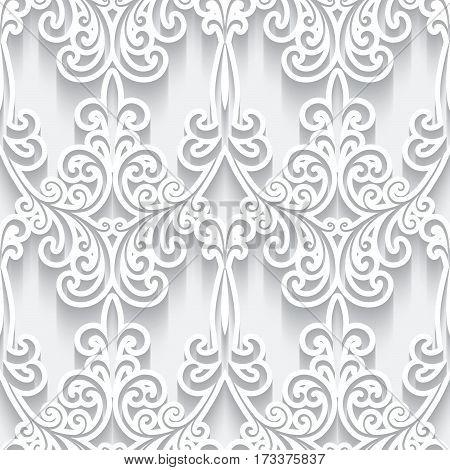 Ornamental white background with cutout paper swirls, swirly seamless pattern