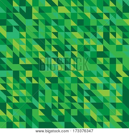 Vector illustration of a seamless pattern of simple triangles in shades of green of various shades.