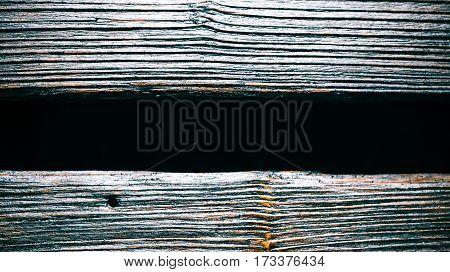 Double wood signboard closeup view. Empty black space in between