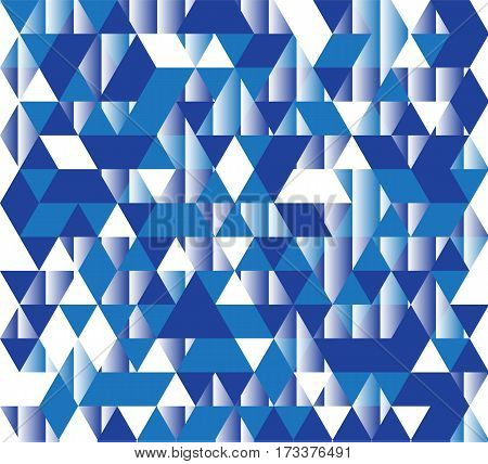 Vector illustration of a seamless pattern of simple triangles in different shades of blue and white colors.