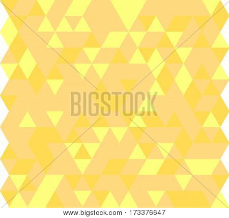 Vector illustration of a seamless pattern of simple triangles in various shades of yellow.