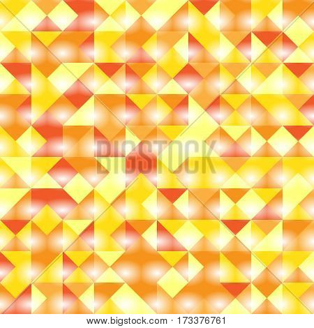 Vector illustration of a seamless pattern of simple triangles in glowing red orange and yellow colors.