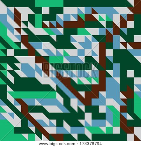 Vector illustration of a seamless pattern of simple geometric objects direct in brown blue gray and green colors.