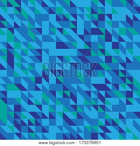 Vector illustration of a seamless pattern of simple triangles in different shades of blue.