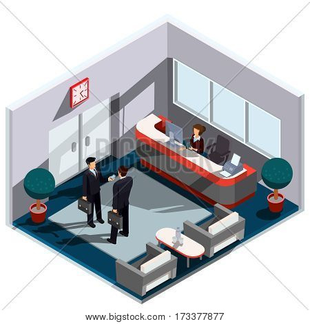 Vector 3D isometric illustration interior of reception. The interior of the lobby with secretary desk, armchairs, a coffee table and workers stationed there