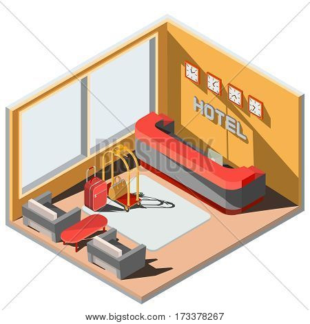 Vector 3D isometric illustration interior of hotel lobby. The interior of the hotel room with reception, suitcases, armchairs and coffee table