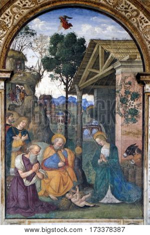 ROME, ITALY - SEPTEMBER 02: The fresco Nativity with the St. Jerome by Bernardino Pinturicchio (1488 - 1490) in Rovere chapel in Church of Santa Maria del Popolo, Rome, Italy on September 02, 2016.