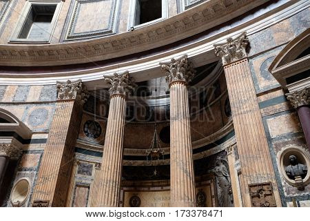 ROME, ITALY - SEPTEMBER 01: Interior of Pantheon, Piazza della Rotonda, Historic Center, Rome, Italy on September 01, 2016.