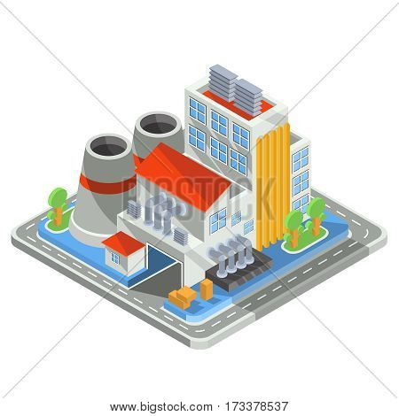 Set of vector isometric icons representing factory building, the plant with office building, smoke stack, industrial buildings