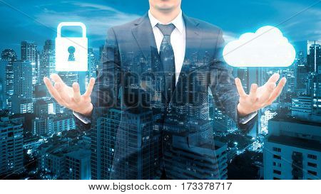 Double Exposure Of Professional Businessman Security Protection And Cloud Network Connection Technol