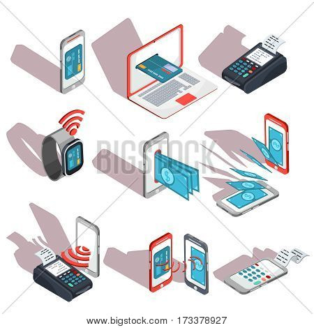Vector isometric illustration devices for e-payments. Icons of mobile phones, laptop, wristwatches, payment terminal showing the ease and convenience of online payments