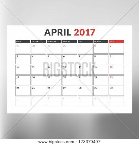 Calendar Template For April 2017. Week Starts Monday. Design Print Template. Vector Illustration Iso
