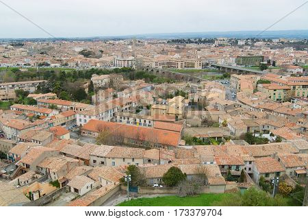 CARASSONNE, FRANCE - MARCH 10 2008: View to the historical part of the city in Carcassonne, France.