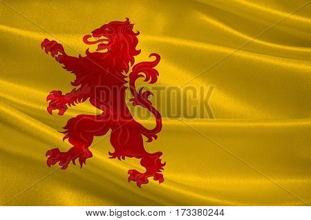Flag of South Holland is a province in the midwestern Netherlands. 3d illustration
