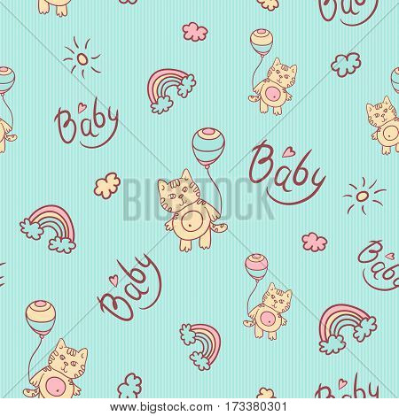 Vector seamless cartoon pattern. Little kitten with balloons, clouds, sun and rainbow. Gentle turquoise background for kids. Caption baby and heart