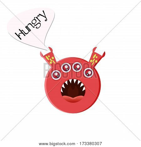 Red round four-eyed monster with big open mouth. Hungry character in a cartoon style. Vector illustration on a white background. Emoji isolated for your design needs