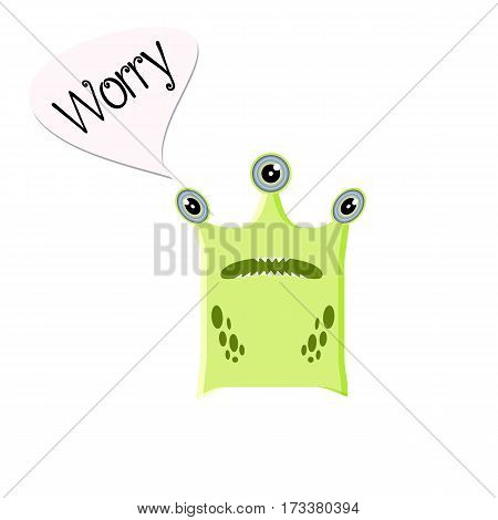 Green three-eyed nervous or scared monster. Funny character in a cartoon style with example text. Emoji isolated for your design needs. Vector illustration on a white background