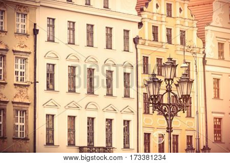 Photo Of Beautiful Old Buildings And Vintage Lamp Post In Wroclaw, Poland