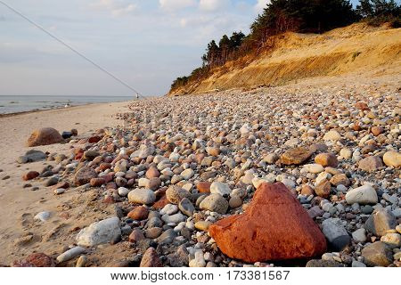 much little stones Baltic beach name Staldzene blue sea blue sky summer