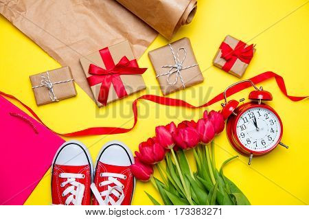 Bunch Of Red Tulips, Red Gumshoes, Cool Shopping Bag, Alarm Clock, Things For Wrapping And Beautiful