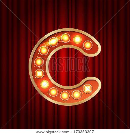 Realistic Retro Gold Lamp Bulb Font Letter C. Part Of Alphabet I