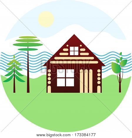 Set icon - wooden house river different trees schematic drawing on white background vector emblem
