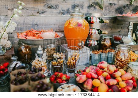 Wedding appetizers for the guests. Wedding event