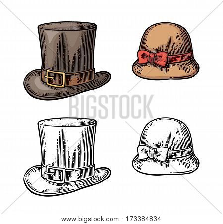 Ladies and gentlemen hat. Vector color vintage engraved illustration. Isolated on a white background.