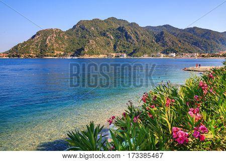 turkey seashore white sand seacoast mediterranean sea a ship in the water summer vacation