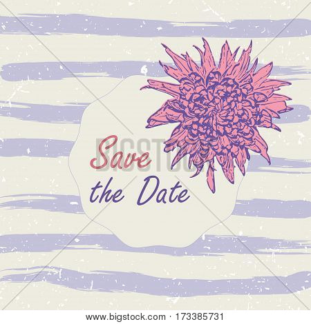 Vector illustration romantic template with pink chrisantemum, lilac watercolor sripes. Save the date, bridal shower, birthday, invitation card for print.