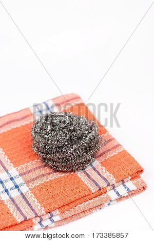 Cleaning Dish Wire On The Kitchen Dishtowel