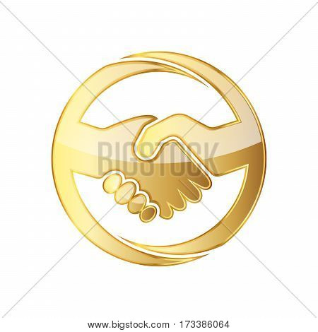 Golden handshake icon. Vector illustration. Golden handshake symbol in circle isolated on white background. The concept of a successful transaction
