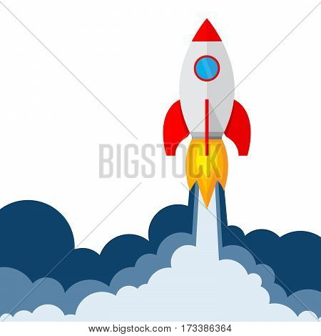 Start up of the space rocket. Rocket ship in flat design on white background. Vector illustration. Concept of business launch.