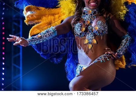 MOSCOW, RUSSIA- JANUARY 2017: Brazilian carnival show. Beautiful girl bright colorful carnival costume dark background. Smiling Afro-Americans woman samba dancer pink carnival costume dance floor