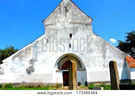 Old medieval saxon evangelic church in Halmeag. In Transylvania, Romania,  there are many saxon churches. This church is 800 years old.