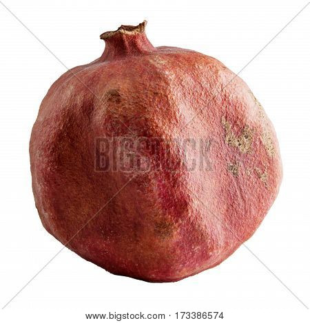 Ripe pomegranate, isolated on white background with clipping path.