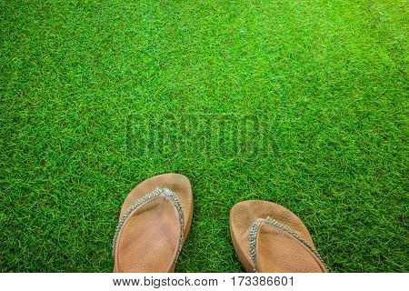 fashion shoes for women put off on grass