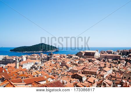 Dubrovnik Old Town Red Roofs View from Castle